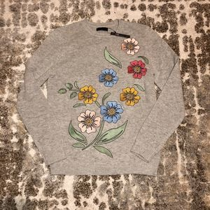 ASOS Grey Floral Embroidered Sweater S NWT